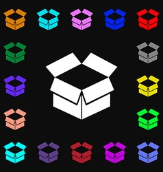 Open box icon sign Lots of colorful symbols for vector image