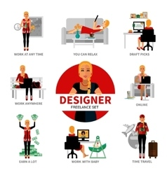 Freelance designer set vector