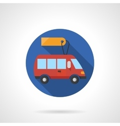 Minibus business round flat color icon vector
