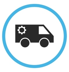 Service car flat rounded icon vector