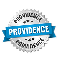 Providence round silver badge with blue ribbon vector