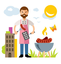 Chef barbecue flat style colorful cartoon vector