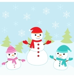Christmas card with cute snowmen vector image vector image