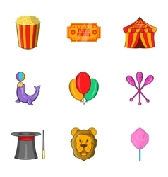 Circus chapiteau icons set cartoon style vector