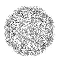 Coloring book mandala eastern pattern zentangl vector