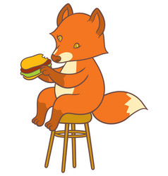 cute cartoon fox holding big tasty sandwich vector image