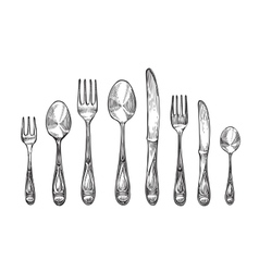 Cutlery set spoons forks and knifes top view vector