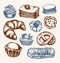 Delicious sweets - color hand drawn vector