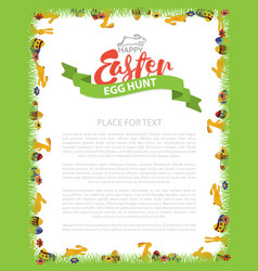 Easter egg hunt invitation flyer design with bunny vector
