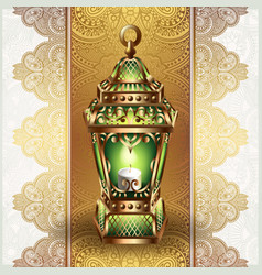 Golden vintage lantern vector