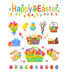 happy easter traditional elements concept poster vector image