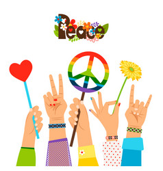 hippie peace signs in hands vector image vector image