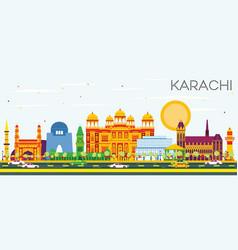 Karachi skyline with color landmarks and blue sky vector