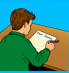 kid writes to santa claus pop art vector image vector image