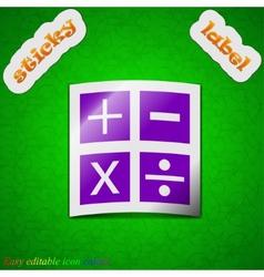 Mathematics icon sign symbol chic colored sticky vector