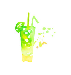 mojito cocktail colorful hand drawn watercolor vector image