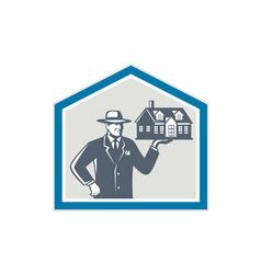Real estate salesman sell house retro vector