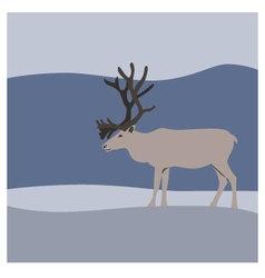 Reindeer in winter mountains vector