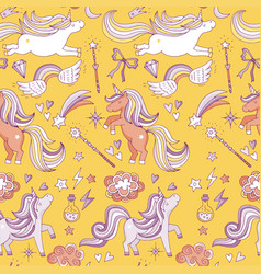 Seamless pattern with funny magic elements vector