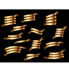 Set of retro golden ribbons vector