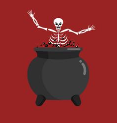 Sinner in boiler skeleton in pot cook for sinners vector