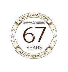 sixty seven years anniversary celebration logo vector image vector image