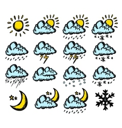Weather hand drawing icons vector image vector image