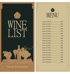 wine menu list vector image vector image