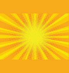 yellow orange sun pop art retro rays background vector image vector image