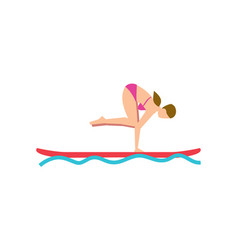 Young girl balancing on sup board vector