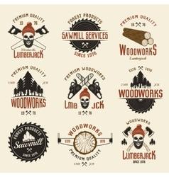 Lumberjack Colored Retro Style Emblems vector image
