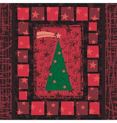 Advent Christmas Tree Greeting Card vector image