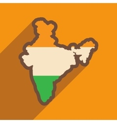 Modern flat icon with long shadow map of india vector