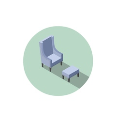 Isometric blue vintage armchair 3d flat interior vector