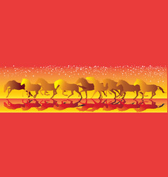 Yellow and red background with horses running vector