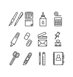 stationery and office equipment thin line vector image