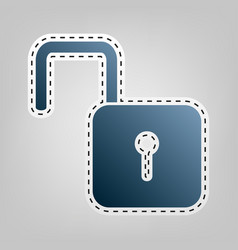 Unlock sign   blue icon with vector