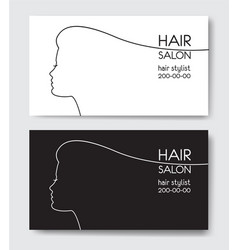 hair salon business card templates withl woman vector image