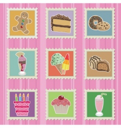 cakes and sweets stamps vector image