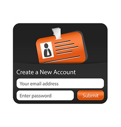 Create a new account form with orange id card vector