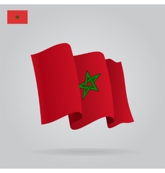 Flat and waving moroccan flag vector