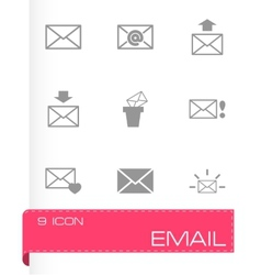 Black email icon set vector