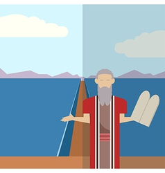 Moses and sea icon 2 vector image
