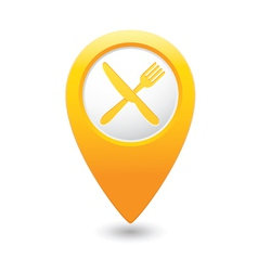 Knife and fork map pointer yellow vector
