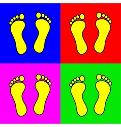 Set of 4 colorful foot steps vector