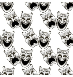 Cartoon theater masks seamless pattern vector