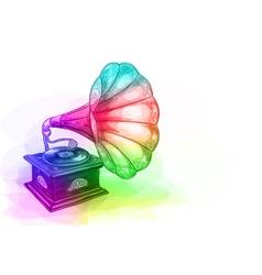 Vintage Gramophone in iridescen colours vector image