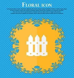 Fence icon sign floral flat design on a blue vector