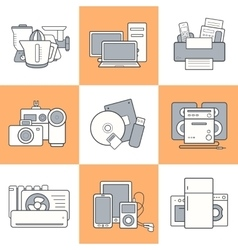 Home electronics icons set vector
