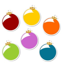 Christmas balls stickers vector